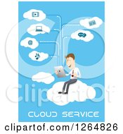 Clipart Of A Businessman Using The Cloud Service With A Tablet Computer Royalty Free Vector Illustration by Vector Tradition SM