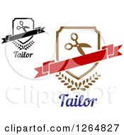 Clipart Of Shields With Scissors And Banners Over Tailor Text Royalty Free Vector Illustration