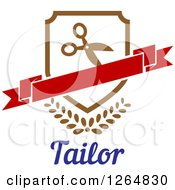 Clipart Of A Shield With Scissors And A Banner Over Leaves And Tailor Text Royalty Free Vector Illustration