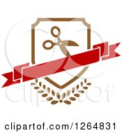 Clipart Of A Shield With Scissors And A Banner Over Leaves Royalty Free Vector Illustration
