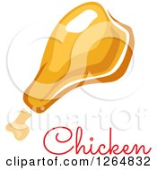 Clipart Of A Chicken Drumstick With Text Royalty Free Vector Illustration
