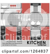 Clipart Of A Kitchen Interior With Text Royalty Free Vector Illustration