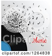 Clipart Of A Vinyl Record And Notes With Music Text Royalty Free Vector Illustration by Vector Tradition SM