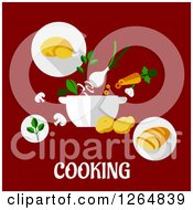 Clipart Of A Pot And Food With Cooking Text On Red Royalty Free Vector Illustration