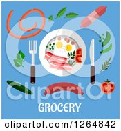 Clipart Of A Plate And Food Over Grocery Text On Blue Royalty Free Vector Illustration