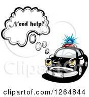 Clipart Of A Police Car Asking If You Need Help Royalty Free Vector Illustration