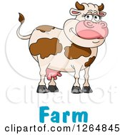Clipart Of A Happy Brown Cartoon Cow Over Farm Text Royalty Free Vector Illustration