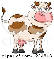 Clipart Of A Happy Brown Cartoon Cow Royalty Free Vector Illustration