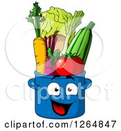 Clipart Of A Happy Pot Character Full Of Produce Royalty Free Vector Illustration