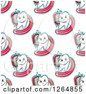 Clipart Of A Seamless Tooth And Brush Background Pattern Royalty Free Vector Illustration