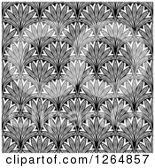 Clipart Of A Seamless Pattern Background Of Vintage Black And White Ornate Scallops Royalty Free Vector Illustration