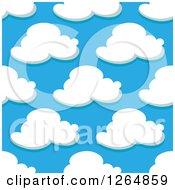 Clipart Of A Seamless Pattern Background Of Puffy Clouds In A Blue Sky Royalty Free Vector Illustration by Vector Tradition SM