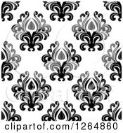 Clipart Of A Seamless Background Pattern Of Black Floral Damask On White Royalty Free Vector Illustration by Vector Tradition SM