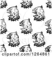 Clipart Of A Seamless Background Pattern Of Black And White Heraldic Eagles Royalty Free Vector Illustration
