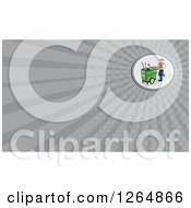 Clipart Of A Male Janitor Or Street Cleaner And Rays Business Card Design Royalty Free Illustration