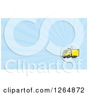 Clipart Of A Delivery Man Driving A Truck And Rays Business Card Design Royalty Free Illustration by patrimonio
