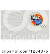 Poster, Art Print Of Construction Worker Carrying A Beam And Hammer And Rays Business Card Design