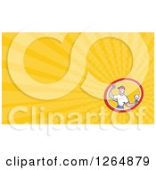 Clipart Of A Male Electrician Holding A Bulb And Plug And Rays Business Card Design Royalty Free Illustration by patrimonio