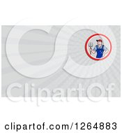 Clipart Of A Male Farmer With A Pitchfork And Rays Business Card Design Royalty Free Illustration