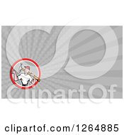 Clipart Of A Handyman Carrying A Hammer And Rays Business Card Design Royalty Free Illustration