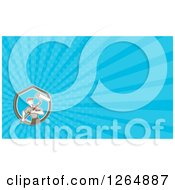 Poster, Art Print Of Male Painter With A Roller And Rays Business Card Design