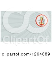 Clipart Of A Happy Asian Chef With A Meat Cleaver And Rays Business Card Design Royalty Free Illustration