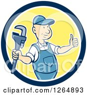 Poster, Art Print Of Cartoon Plumber Holding A Monkey Wrench And Thumb Up In A Yellow Blue And White Circle