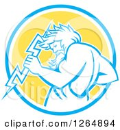 Clipart Of A Retro Zeus Holding A Thunder Bolt In A Blue White And Yellow Circle Royalty Free Vector Illustration