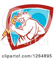 Clipart Of A Retro Zeus Holding A Thunder Bolt In A Red White And Blue Shield Royalty Free Vector Illustration