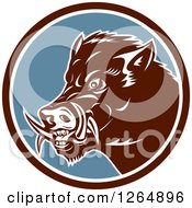 Clipart Of A Retro Wild Boar Pig In A Brown White And Blue Circle Royalty Free Vector Illustration