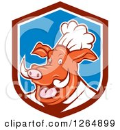 Clipart Of A Carton Happy Pig Chef In A Maroon Blue And White Shield Royalty Free Vector Illustration