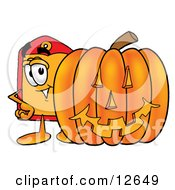Price Tag Mascot Cartoon Character With A Carved Halloween Pumpkin