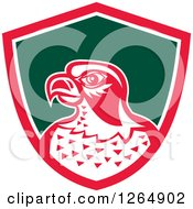 Clipart Of A Retro Falcon Head In A Pink White And Green Shield Royalty Free Vector Illustration by patrimonio