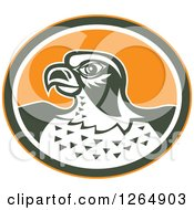 Clipart Of A Retro Falcon Head In An Orange Green And White Oval Royalty Free Vector Illustration by patrimonio