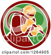 Clipart Of A Sandblaster In A Maroon White And Green Circle Royalty Free Vector Illustration by patrimonio