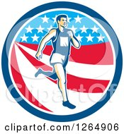 Clipart Of A Retro Male Marathon Runner Over An American Stars And Stripes Circle Royalty Free Vector Illustration by patrimonio