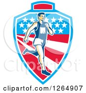 Clipart Of A Retro Male Marathon Runner Over A Mountain American Stars And Stripes Shield Royalty Free Vector Illustration by patrimonio