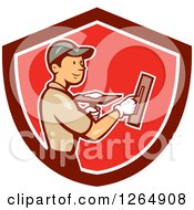 Clipart Of A Cartoon White Male Plasterer In A Red And White Shield Royalty Free Vector Illustration by patrimonio