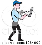 Clipart Of A Cartoon White Male Plasterer Royalty Free Vector Illustration
