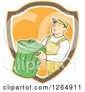 Clipart Of A Retro Cartoon White Male Garbage Man Carrying A Bin In An Orange Brown And White Shield Royalty Free Vector Illustration