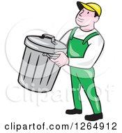 Cartoon White Male Garbage Man Carrying A Bin