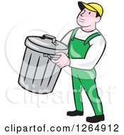 Clipart Of A Cartoon White Male Garbage Man Carrying A Bin Royalty Free Vector Illustration