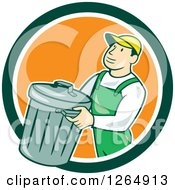 Clipart Of A Cartoon White Male Garbage Man Carrying A Bin In A Green White And Orange Circle Royalty Free Vector Illustration