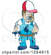 Clipart Of A Messy Male Mechanic With Oil Splatters Royalty Free Vector Illustration