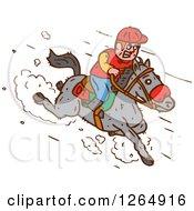 Clipart Of A Jockey Racing A Horse Royalty Free Vector Illustration