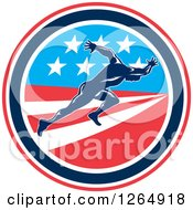 Clipart Of A Retro Male Runner Sprinting In An American Flag Circle Royalty Free Vector Illustration