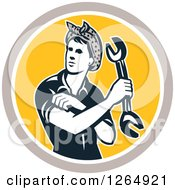 Clipart Of A Retro Female Mechanic Holding A Wrench And Rolling Up Her Sleeves In A Taupe White And Yellow Circle Royalty Free Vector Illustration