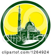Clipart Of A Retro Woodcut Scene Of The Putra Mosque In Malaysia Royalty Free Vector Illustration