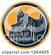 Clipart Of A Retro Woodcut Facade Of The Manila Cathedral In Intramuros Manila Philippines Royalty Free Vector Illustration by patrimonio
