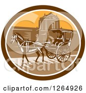 Clipart Of A Retro Woodcut Horse Drawn Carriage At The Walled City In Intramuros Manila Philippines Royalty Free Vector Illustration